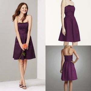 David's Bridal Plum Strapless Bridesmaids Dress